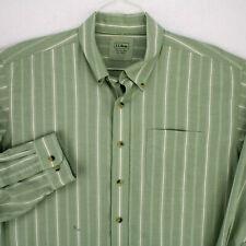 LL BEAN GREEN WHITE STRIPED LONG SLEEVE BUTTON SHIRT MEN'S XL REG