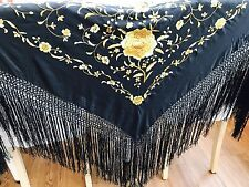 Manton De Manila Gorgeous Piano Shawl Authentic Silk Hand Embroidered Flamenco