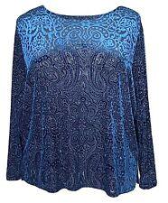 Dialogue Burnout Velvet Paisley Women's Blouse Long Sleeve Teal Blue Plus Sz 2X