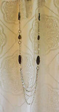 Chico's 45 inch silver tone chain, circles and beaded necklace.