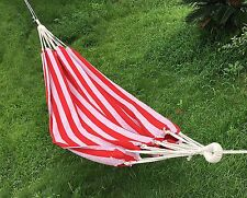 Red Cotton Fabric Canvas Hammock Tree Hanging Suspended Outdoor Bed New