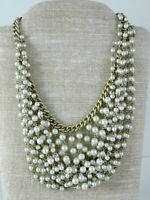Lee Angel Designer Faux Grey Pearl Bib Collar Necklace Silver Tone Metal Signed