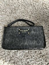 NEW KATE SPADE PATENT LEATHER LEOPARD PRINT WRISTLET WALLET CLUTCH ZIP TOP RARE!
