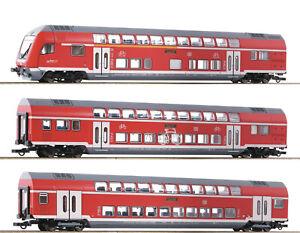 Roco H0 74150 Doppelstockwagen-Set der DB AG mit LED-Beleuchtung - NEU + OVP