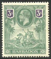 Barbados #126 Mint - 1912 3sh Green & Violet ($125)