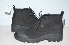 New Eileen Fisher Lace-Up Black Weatherproof Suede Duck Boots 6 M