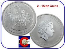 2 x 2015 Lunar Goat 1/2 oz Silver, Series 2, Australia, in original capsules