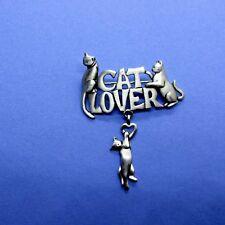 Vintage JJ Jonette Jewelry Pin Cat Lovers Pewter Dangle Kitty Brooch