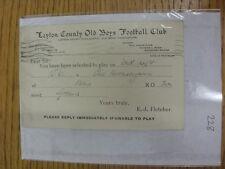 Condado de chicos Antiguo 24/02/1936 Leyton: tarjeta de selección V Antiguo hornseyans, como enviado a P