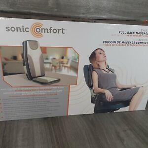 Sonic Comfort Shiatsu Full Back Massage Cushion with Heat New Open Box