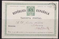 España 1874. Tarjeta de Valencia a Valladolid. Variedad Ed 6eav.