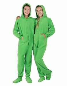 Footed Pajamas W Hood Solid Green Fleece Infant XL To Kids Medium New With Tags