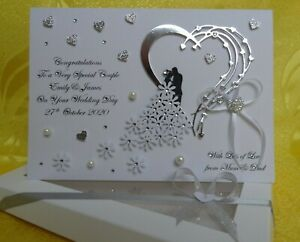 Handmade Personalised 3D Wedding Day/Anniversary /Engagement Card with GIFT BOX