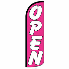 Open Swooper Flag and Pole Set Windless Banner Sign 3' Wide Pink White