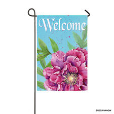 Welcome Garden Flag Suede Peony Evergreen Flag Presents Reflections Designs