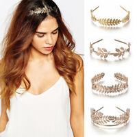 Retro Headband Gold Leaf Headpiece Bride Hair For Women Girl Wedding Accessories
