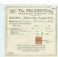 wbc. - EPHEMERA -463 - PRUDENTIAL ASSCE  LONDON - CORPORATE OVERPRINT - OCT 1936