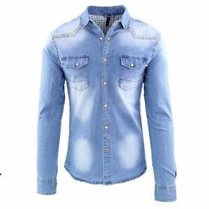 Camicia di Jeans Uomo Slim Fit Blu Casual Classica Denim