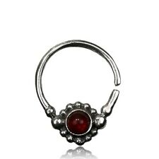 Septum 9Mm Ring Nose Afghan Helix Tribal 16G Red Agate Sterling Silver Hanging