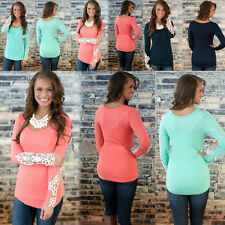 Crew Neck Hip Length Blouses Fitted Tops & Shirts for Women