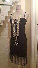 1920s Black Dress Charleston Flapper Gatsby Tassel Style size 10-12. Made in USA