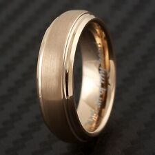 """CLOSEOUT! 6mm Rose Gold Tungsten Ring Size 5 Engraved """"With all of my heart"""""""