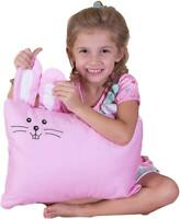 Kinder Fluff Toddler Pillow & Pillowcase -100% Cotton White Pillow & Pink Bunny