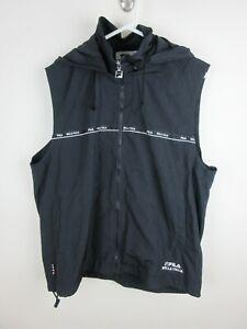 Fila Biella Italia Mens Vest Size L Nylon Soft Shell Lining Full Zip Hood Black