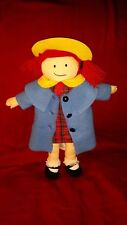 """Madeline 14"""" Doll Plush 2004 Red Dress Blue Coat Yellow Hat Red Yarn Hair 3+"""