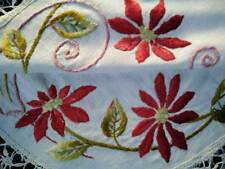 Society Silk Era c1900 Red Poinsettia ~ Antique Hand Embroidered Centrepiece