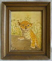 Vintage Original Painting Panther Cub Folky  Naive FAG 1980 Rustic Wood Frame