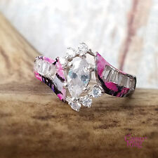 Muddy Girl Camo - Custom Silver & Marquise CZ Ring - Size 8.5 by CamoRing.com