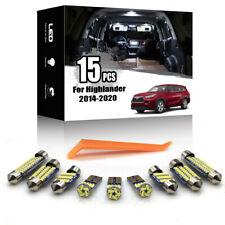 15x For Toyota Highlander 2014-2020 Car Interior LED Lighting Kit ERROR FREE
