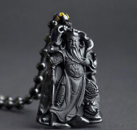 Obsidian guan yu pendant necklace Handmade Lucky Unisex Natural 100% Jewelry
