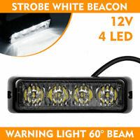 12V 4 LED WHITE LIGHT Car White Strobe Flash Flashing Light Dash Emergency
