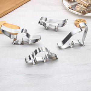 4pcs Steel Stainless Cookies Cutter Biscuit Dinosaur Pastry Cake Baking Mould