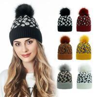 Women Leopard Print Knit Hat Female Beanie Cap Winter Warm Hat