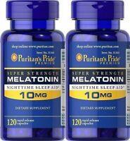 Puritan's Pride Melatonin 10 mg Night Time Sleep Aid 240 Capsules