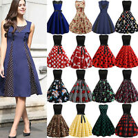 Womens 50s 60s Hepburn Rockabilly Pinup Swing Summer Party Formal Dress Costume