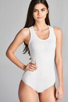 Bodysuit Zenana tank top sleeveless V-neck casual cotton stretch solid white