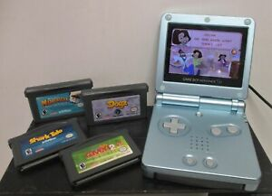 GameBoy Advance SP 2002 AGS-101Backlit Metallic Light Blue+5 Games (JB)