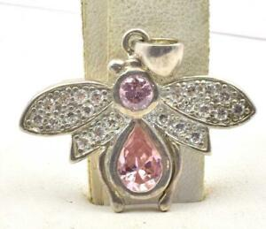 Estate Sterling Silver Pink & clear CZ - Bee Fly Insect Ladies Pendant Perfect!