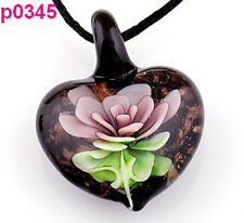 Graceful Heart Fashion Flower art lampwork glass pendant necklace pJ345