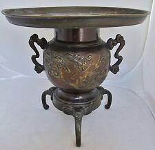 "Signed Antique Japanese Bronze Ikebana Usubata Vase w/ DRAGON & TIGER  (11.35"")"