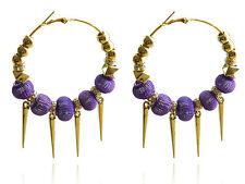 Trendy Big Hoops Gold Spikes and Purple Mesh Balls Rhinestone Earrings E424