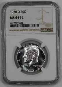 1970 D KENNEDY HALF DOLLAR 50C NGC MS 64 PL MINT STATE UNC PROOF-LIKE (004)