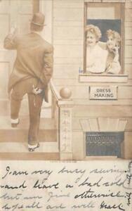 RPPC DRESS MAKING COMIC GOLDFIELD NEVADA STUDIO REAL PHOTO POSTCARD 1908