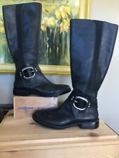FOSSIL Black Genuine Leather Side Zip Buckle Gore Shaft Panel Riding Boot US 9.5