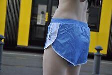 adidas Sprinter Seitenschlitz blau Sporthose Shorts 80s TRUE VINTAGE silky shiny