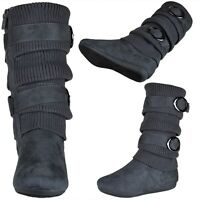 Girls Knit Faux Suede Mid Calf Boots w/ Strappy Buckle Accent Gray Sz 9-4